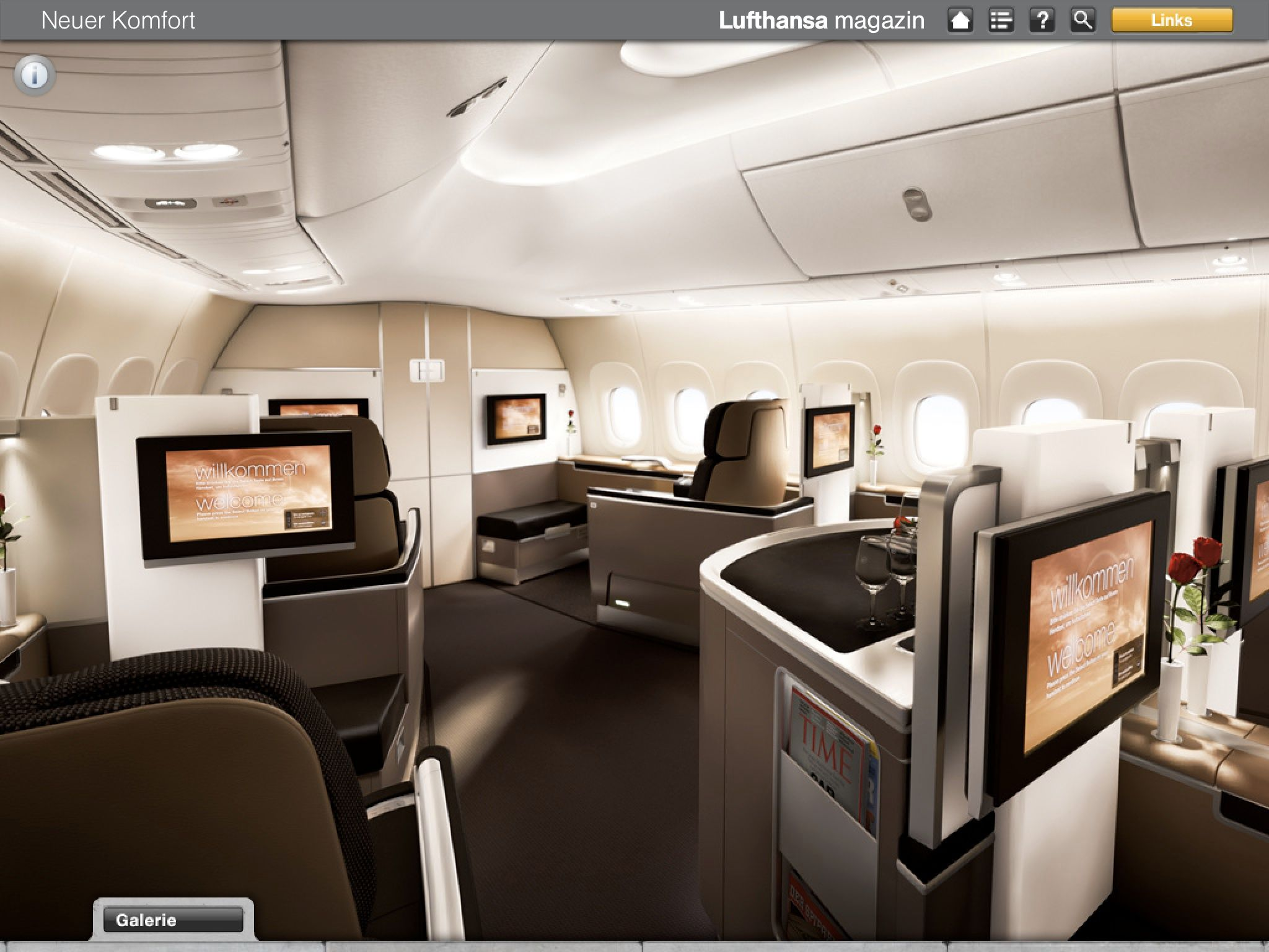 the gallery for lufthansa first class 747 8. Black Bedroom Furniture Sets. Home Design Ideas